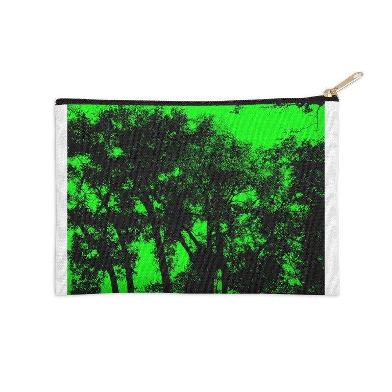 Trees silhoutte on green Accessories Zip Pouch by nicolekieferdesign's Artist Shop