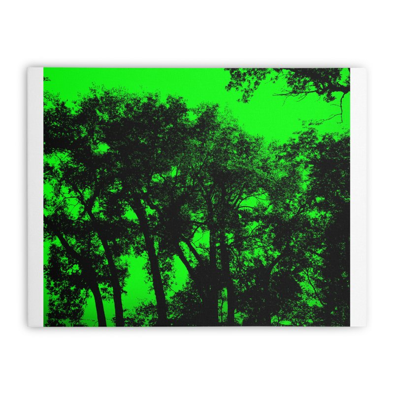 Trees silhoutte on green Home Stretched Canvas by nicolekieferdesign's Artist Shop