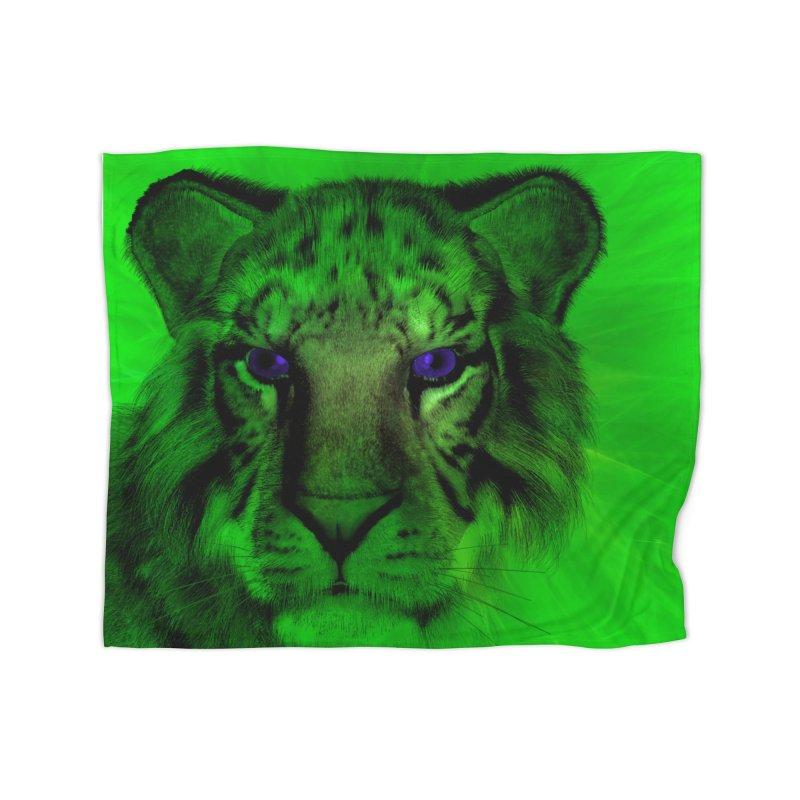 Blue eyed tiger Home Blanket by nicolekieferdesign's Artist Shop