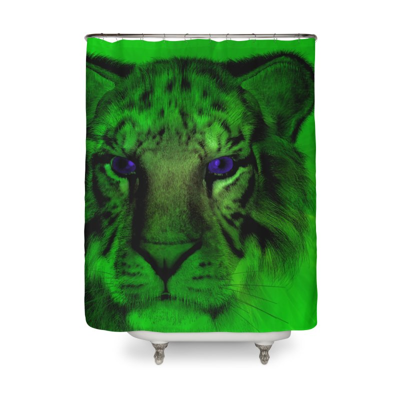Blue eyed tiger Home Shower Curtain by nicolekieferdesign's Artist Shop