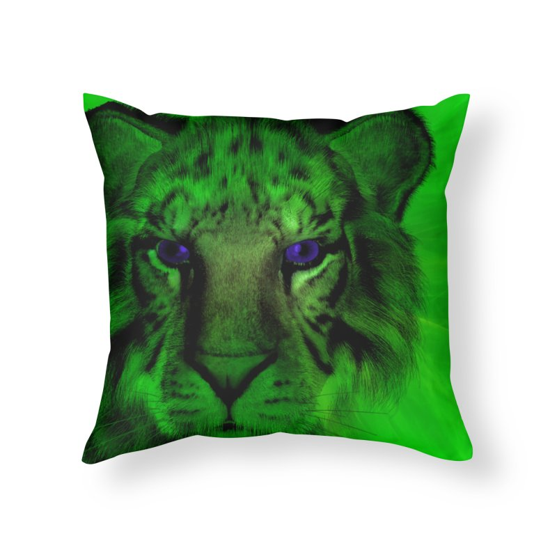 Blue eyed tiger Home Throw Pillow by nicolekieferdesign's Artist Shop