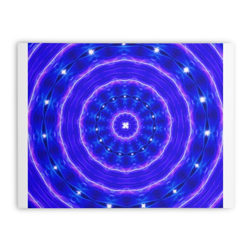 Kaleidoscope in blue and pink with stars Home Stretched Canvas by nicolekieferdesign's Artist Shop