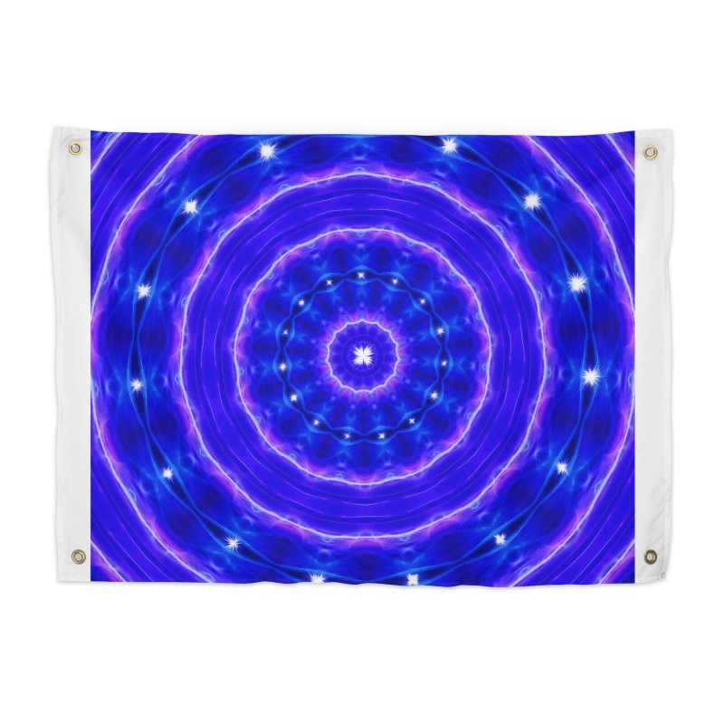 Kaleidoscope in blue and pink with stars Home Tapestry by nicolekieferdesign's Artist Shop