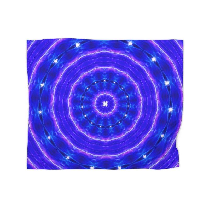 Kaleidoscope in blue and pink with stars Home Blanket by nicolekieferdesign's Artist Shop