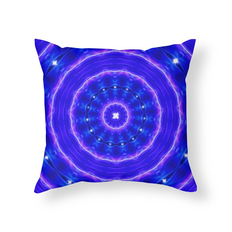 Kaleidoscope in blue and pink with stars Home Throw Pillow by nicolekieferdesign's Artist Shop