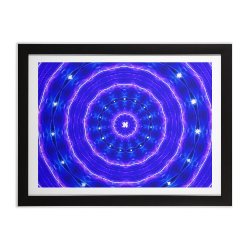 Kaleidoscope in blue and pink with stars Home Framed Fine Art Print by nicolekieferdesign's Artist Shop