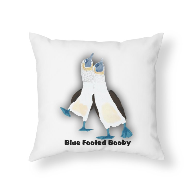Blue-footed Booby Bird Home Throw Pillow by nicolekieferdesign's Artist Shop