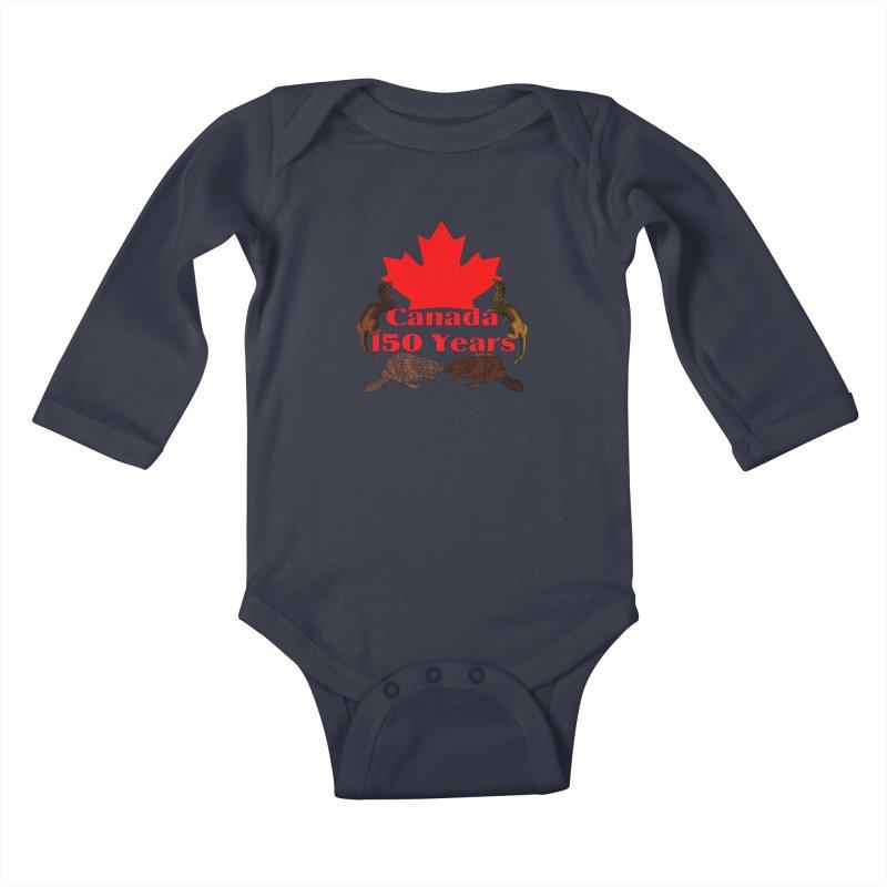 Canada 150th Kids Baby Longsleeve Bodysuit by nicolekieferdesign's Artist Shop