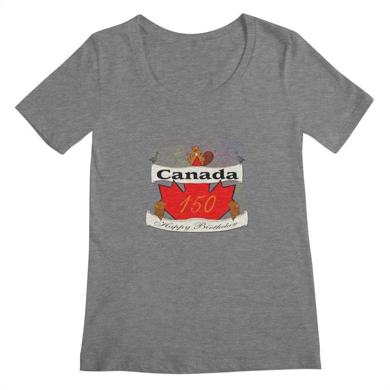 Happy Birthday Canada Women's Scoopneck by nicolekieferdesign's Artist Shop