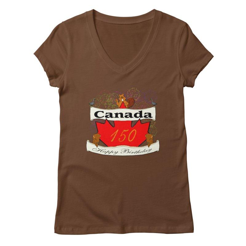 Happy Birthday Canada Women's V-Neck by nicolekieferdesign's Artist Shop
