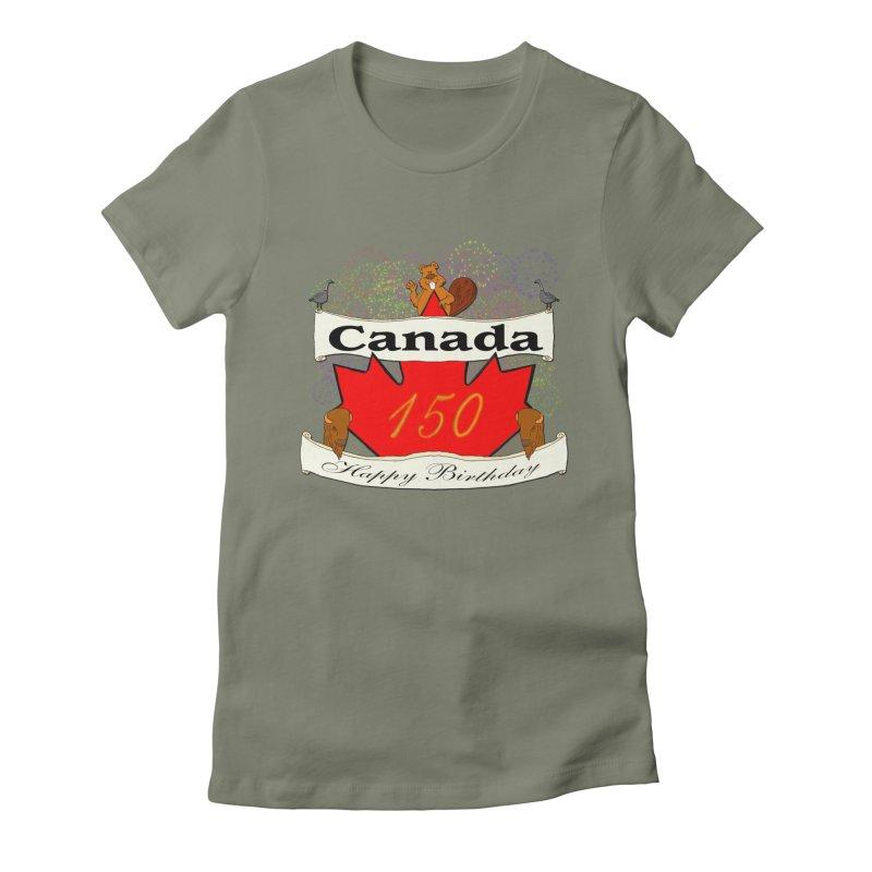 Happy Birthday Canada Women's Fitted T-Shirt by nicolekieferdesign's Artist Shop