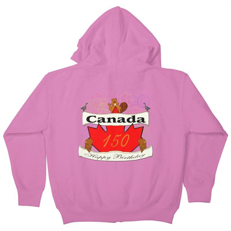 Happy Birthday Canada Kids Zip-Up Hoody by nicolekieferdesign's Artist Shop