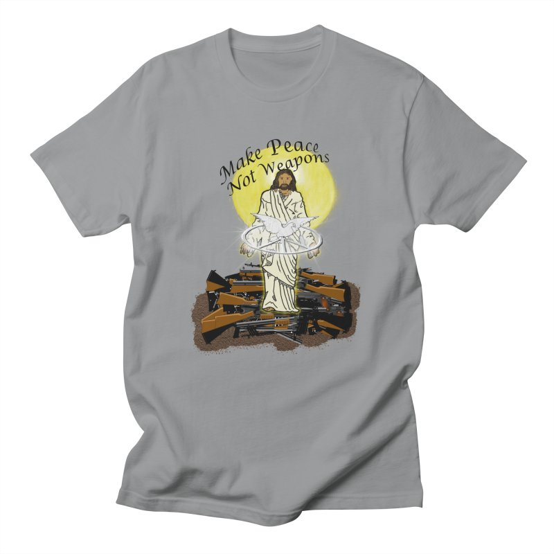 Jesus against Weapons Men's T-Shirt by nicolekieferdesign's Artist Shop