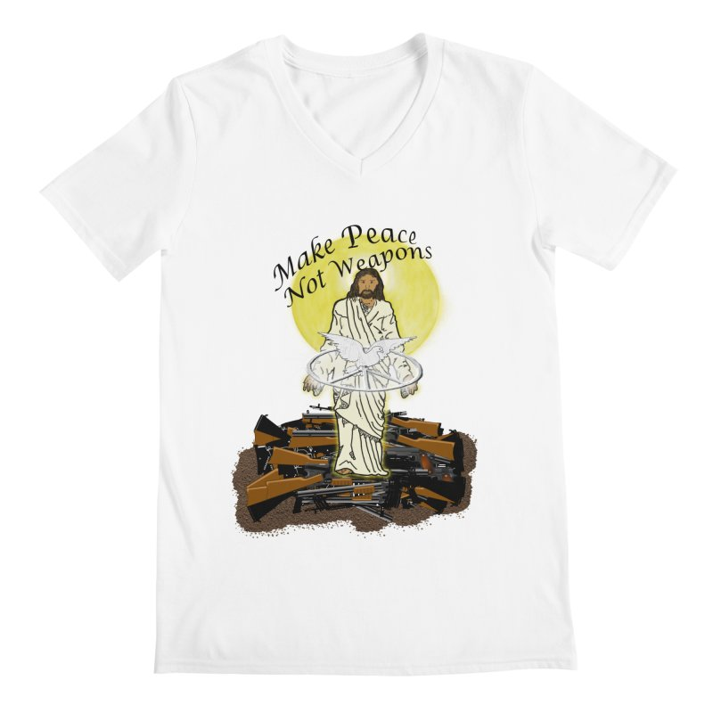 Jesus against Weapons Men's V-Neck by nicolekieferdesign's Artist Shop
