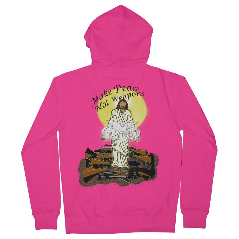Jesus against Weapons Men's Zip-Up Hoody by nicolekieferdesign's Artist Shop