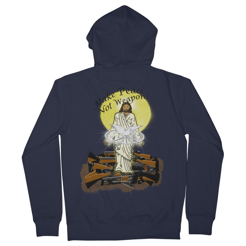 Jesus against Weapons Men's Zip-Up Hoody by nicolekieferdesign's Artist Shop