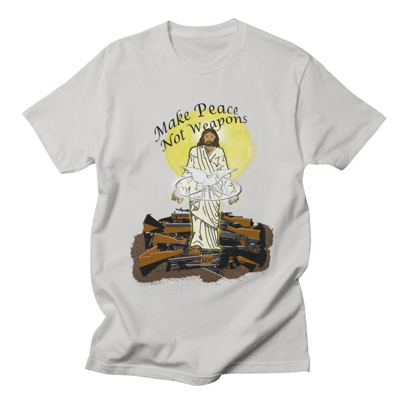 Jesus against Weapons Men's T-Shirt by nicolekieferdesign's Artist Shop