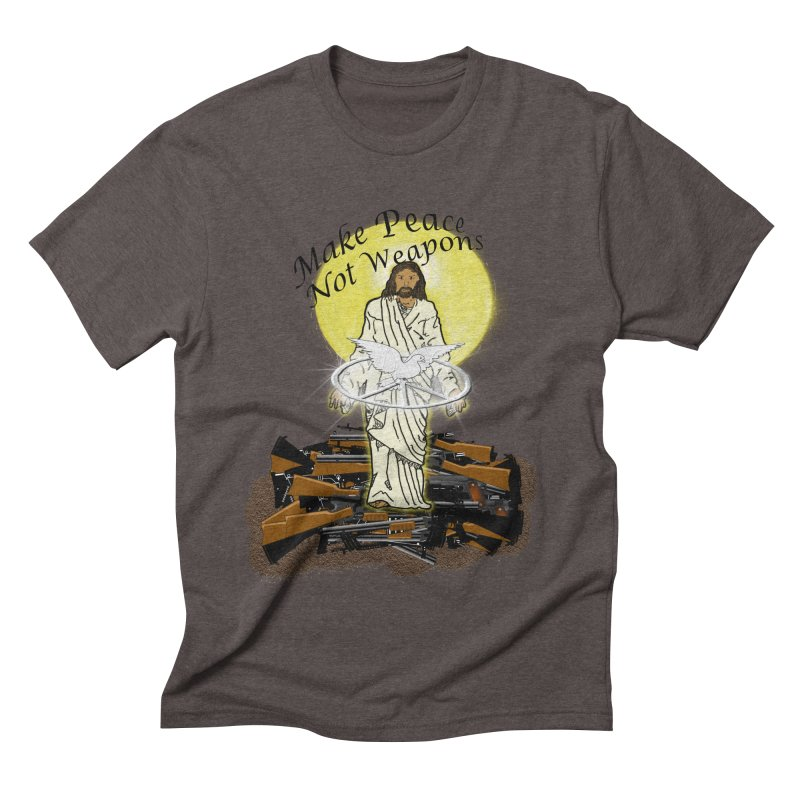 Jesus against Weapons Men's Triblend T-Shirt by nicolekieferdesign's Artist Shop