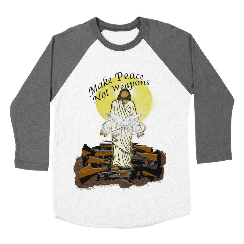Jesus against Weapons Women's Baseball Triblend T-Shirt by nicolekieferdesign's Artist Shop
