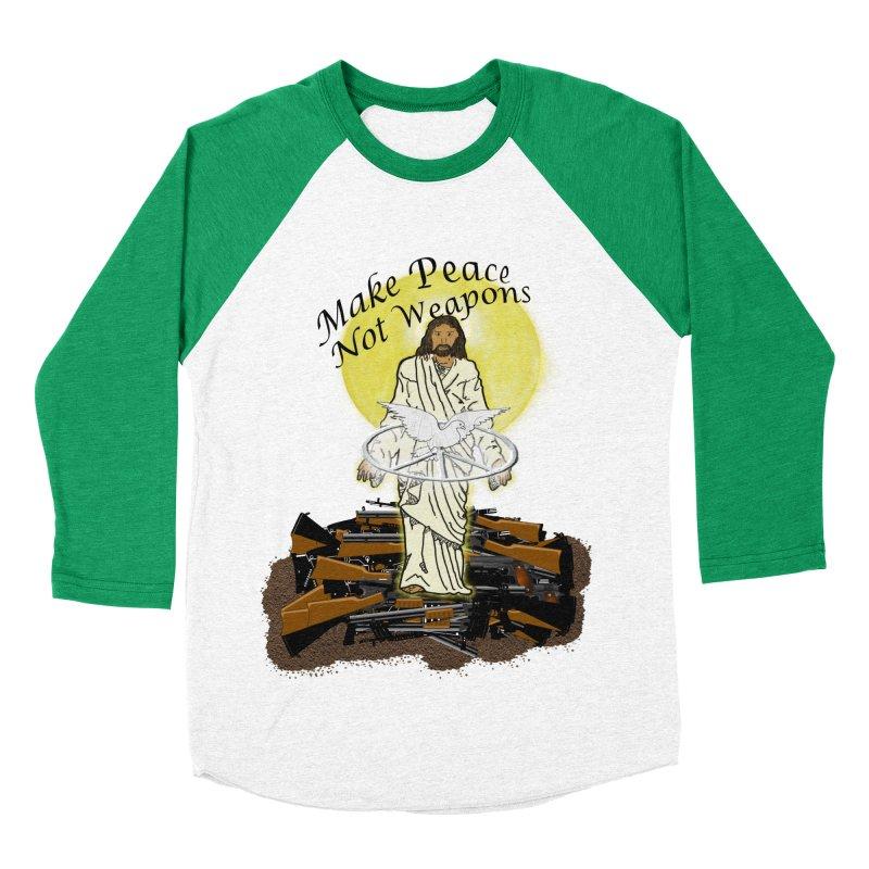 Jesus against Weapons Men's Baseball Triblend T-Shirt by nicolekieferdesign's Artist Shop