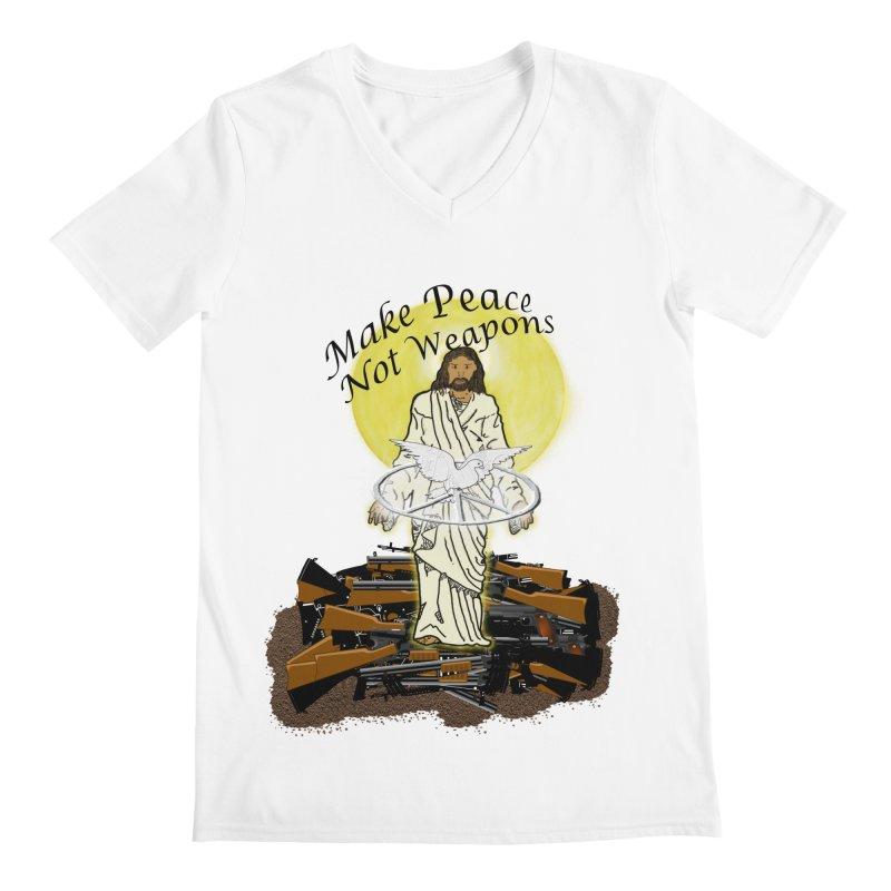 Jesus against Weapons Men's V-Neck by nicolekieferdesign's Artist Shop