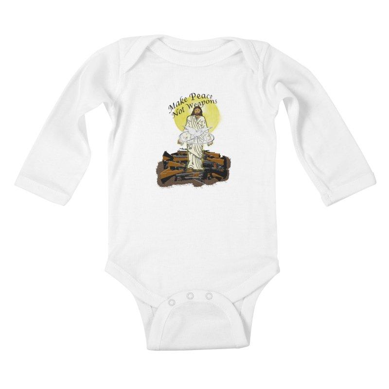Jesus against Weapons Kids Baby Longsleeve Bodysuit by nicolekieferdesign's Artist Shop