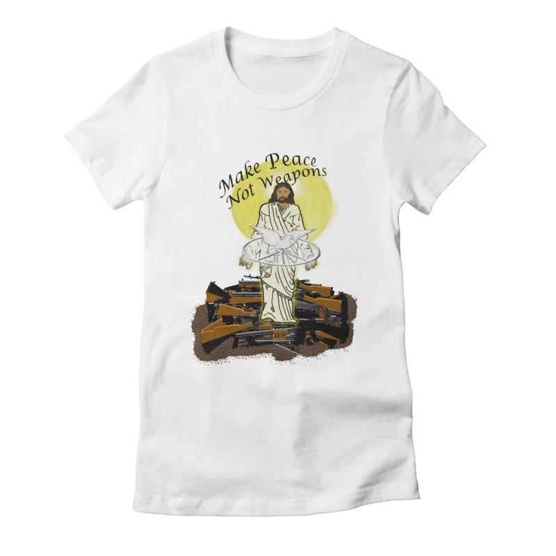Jesus against Weapons Women's Fitted T-Shirt by nicolekieferdesign's Artist Shop