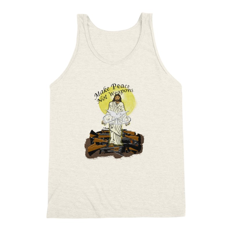 Jesus against Weapons Men's Triblend Tank by nicolekieferdesign's Artist Shop