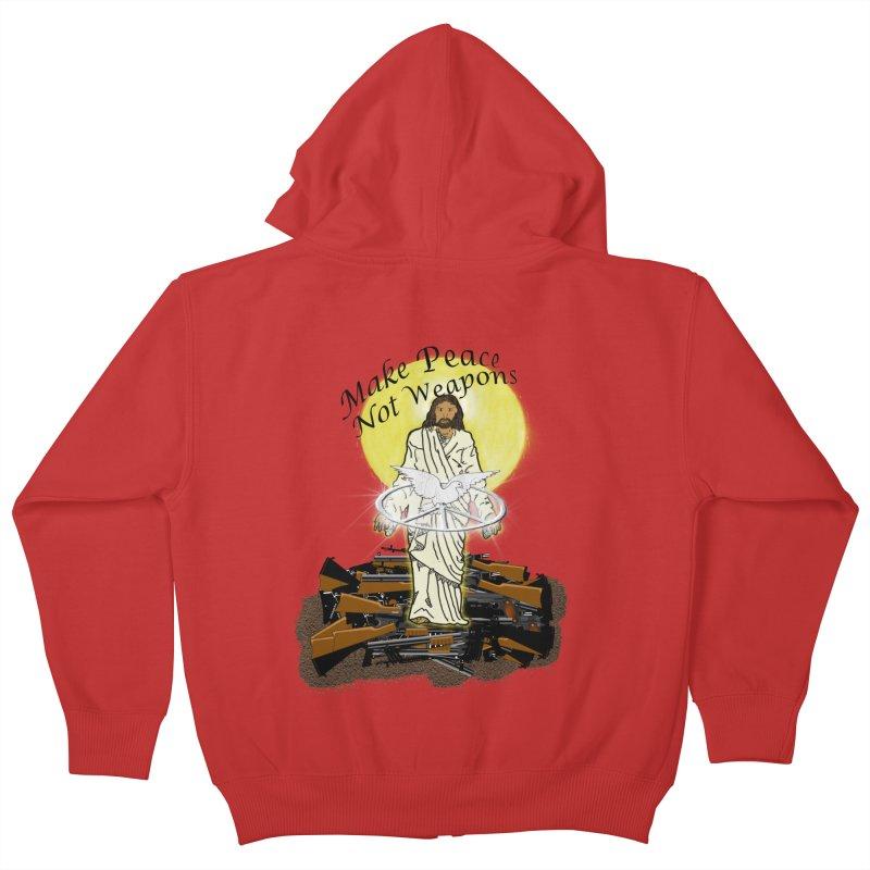 Jesus against Weapons Kids Zip-Up Hoody by nicolekieferdesign's Artist Shop