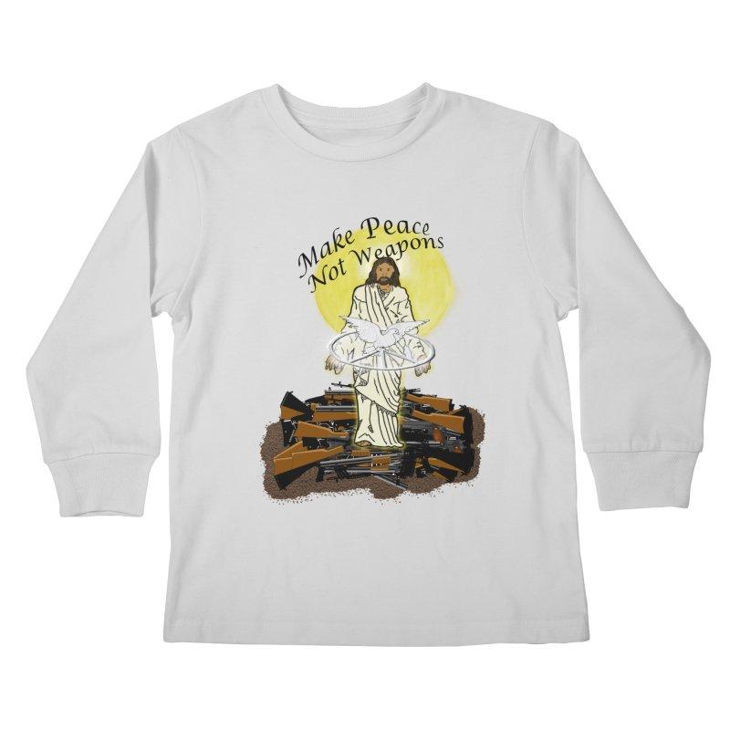 Jesus against Weapons Kids Longsleeve T-Shirt by nicolekieferdesign's Artist Shop