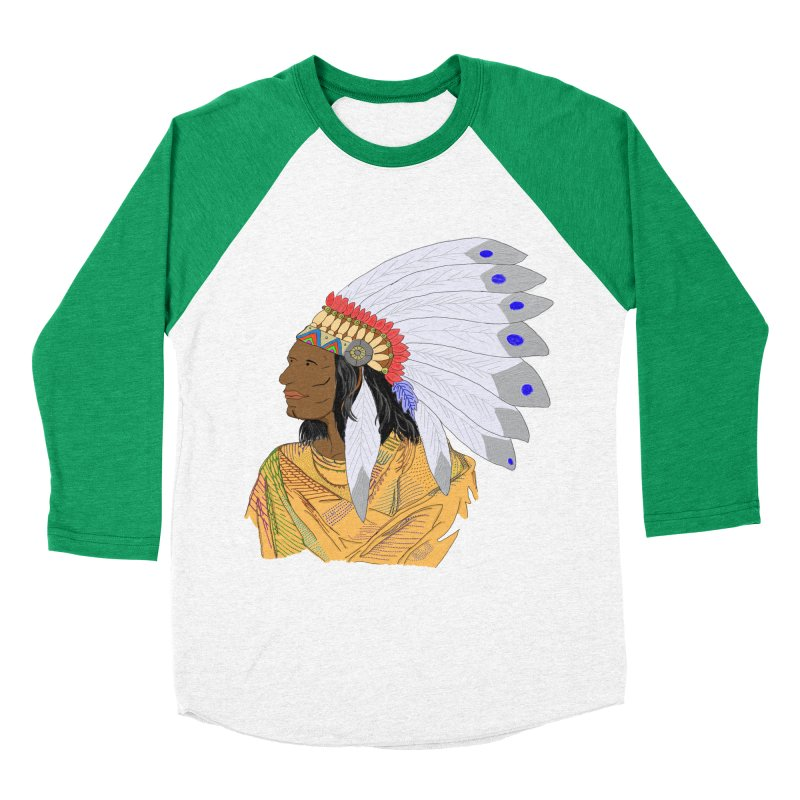 Native American Chieftain Women's Baseball Triblend T-Shirt by nicolekieferdesign's Artist Shop