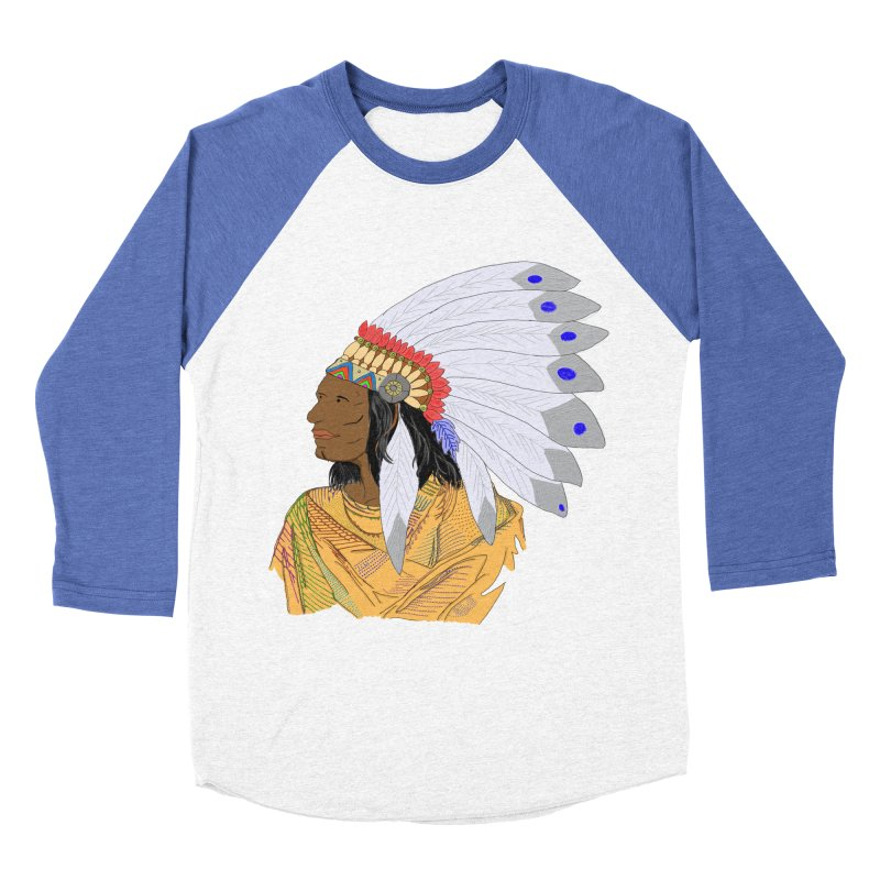Native American Chieftain Men's Baseball Triblend T-Shirt by nicolekieferdesign's Artist Shop