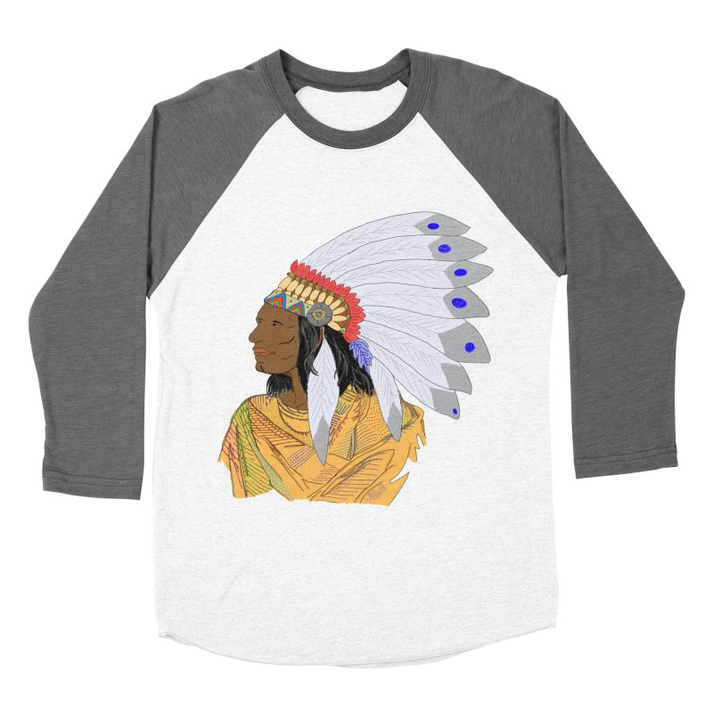 Native American Chieftain Men's Baseball Triblend T-Shirt by nicolekieferdesign's Artist Shop