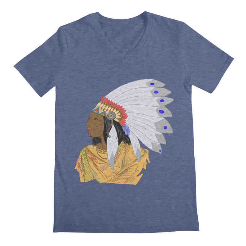 Native American Chieftain Men's V-Neck by nicolekieferdesign's Artist Shop