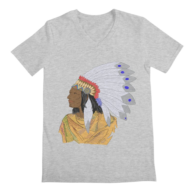 Native American Chieftain Men's V-Neck by nicolekieferdesign's Artist Shop