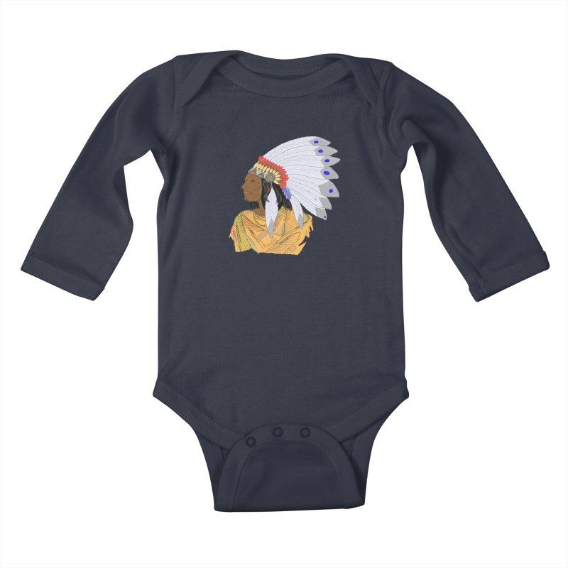 Native American Chieftain Kids Baby Longsleeve Bodysuit by nicolekieferdesign's Artist Shop