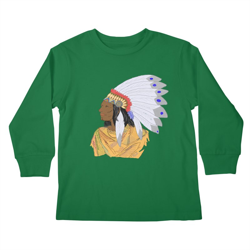 Native American Chieftain Kids Longsleeve T-Shirt by nicolekieferdesign's Artist Shop