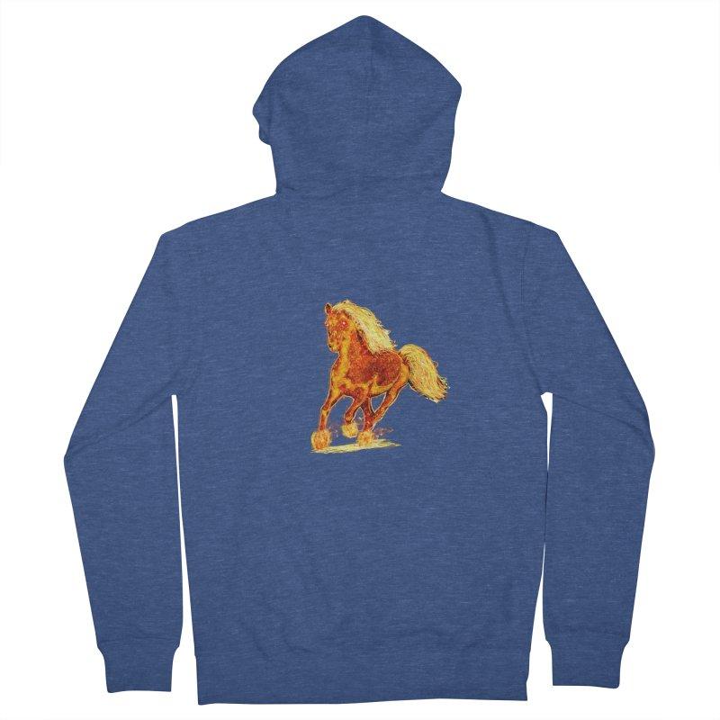 Flaming Horse Men's Zip-Up Hoody by nicolekieferdesign's Artist Shop