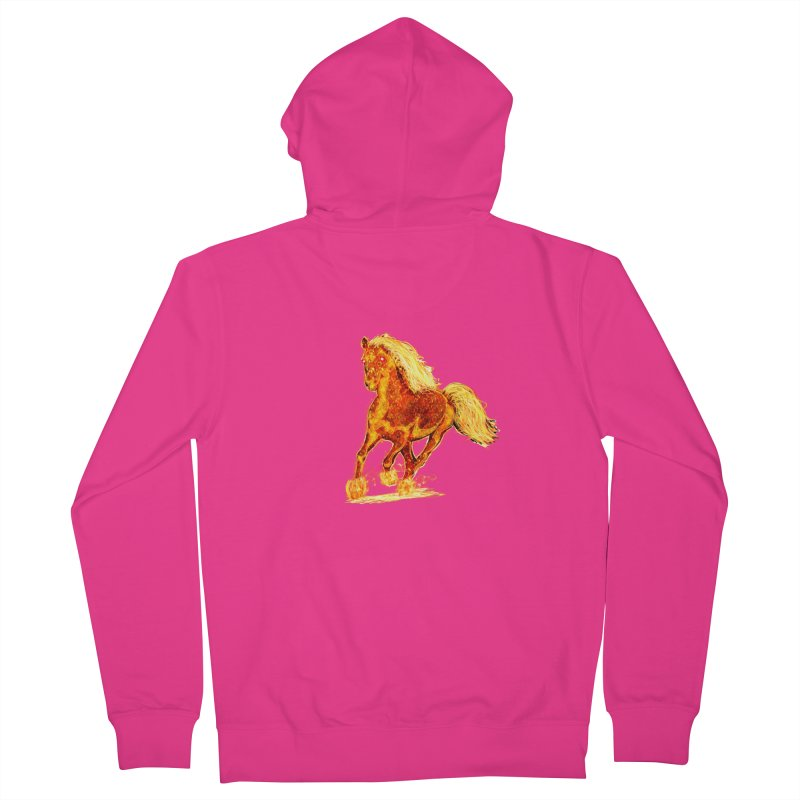 Flaming Horse Men's Zip-Up Hoody by nicolekieferdesign's Artist Shop