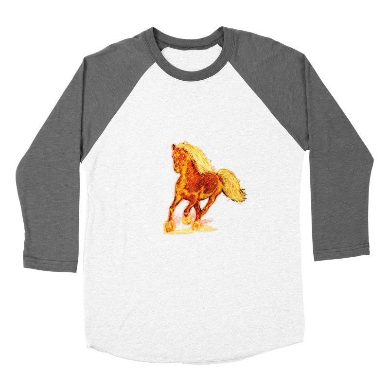 Flaming Horse Women's Baseball Triblend T-Shirt by nicolekieferdesign's Artist Shop