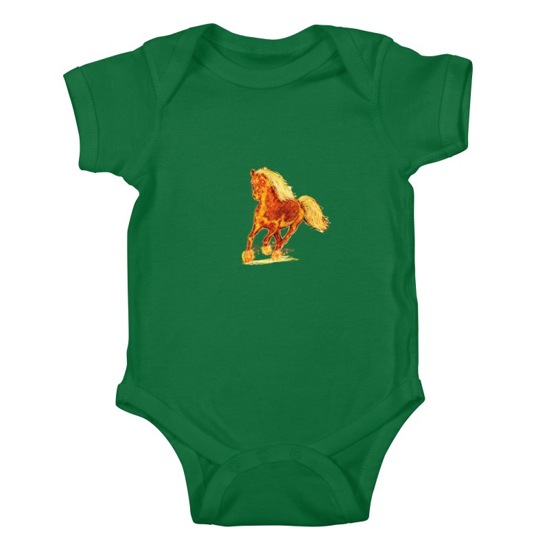 Flaming Horse Kids Baby Bodysuit by nicolekieferdesign's Artist Shop