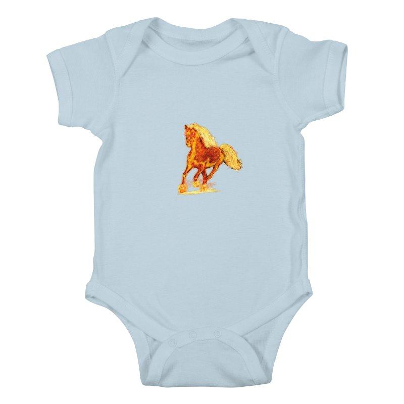 Flaming Horse Kids Baby Bodysuit by nicolekieferdesign's Artist Shop