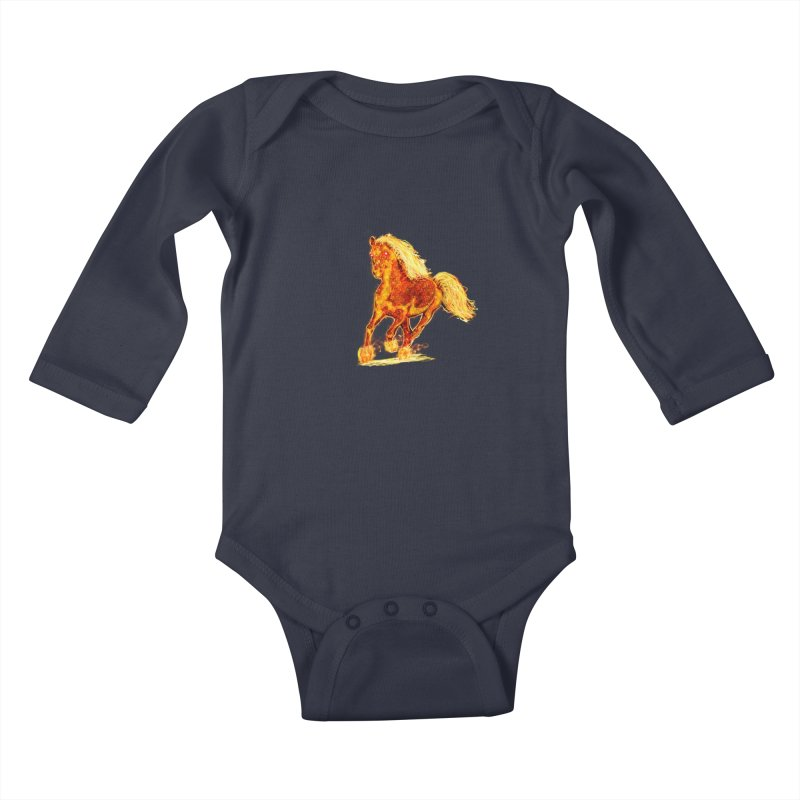 Flaming Horse Kids Baby Longsleeve Bodysuit by nicolekieferdesign's Artist Shop