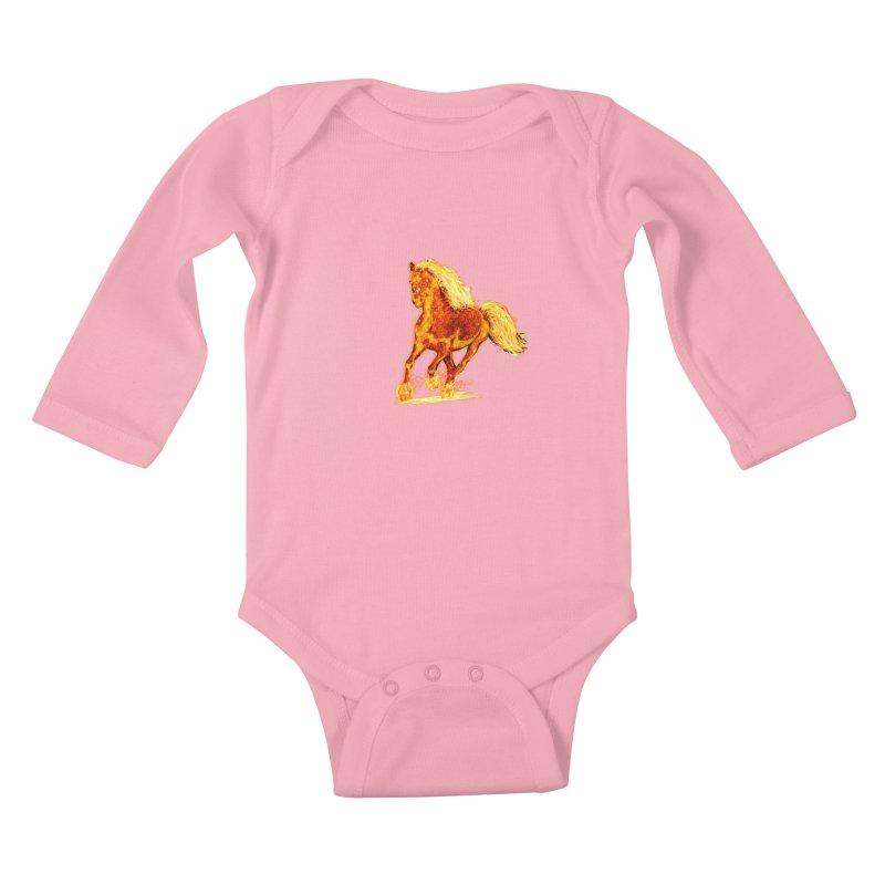 Flaming Horse Kids Baby Longsleeve Bodysuit by nicolekieferdesign's Artist Shop