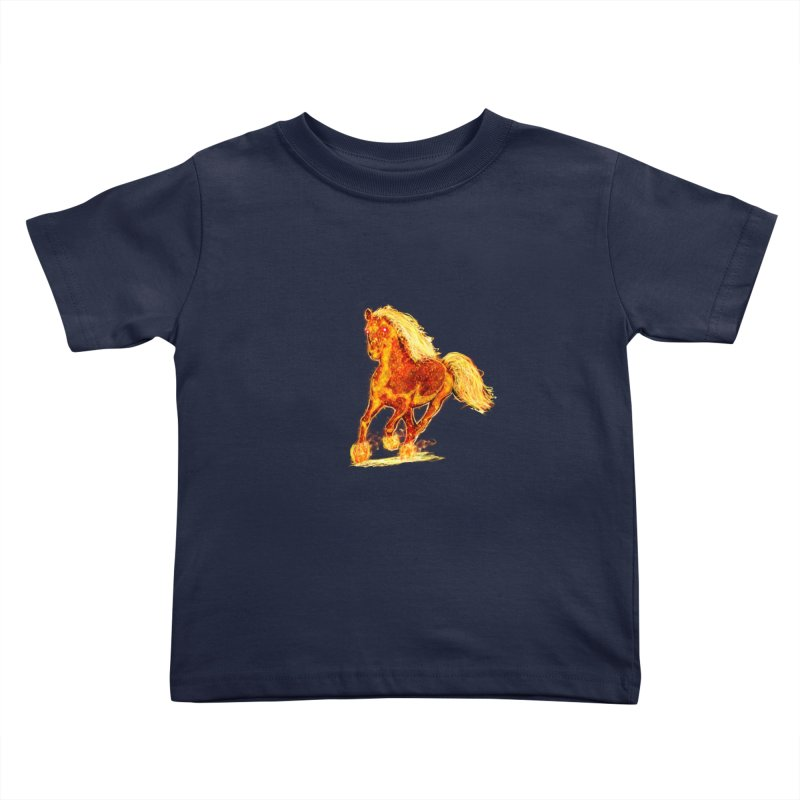 Flaming Horse Kids Toddler T-Shirt by nicolekieferdesign's Artist Shop