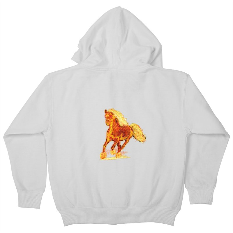 Flaming Horse Kids Zip-Up Hoody by nicolekieferdesign's Artist Shop
