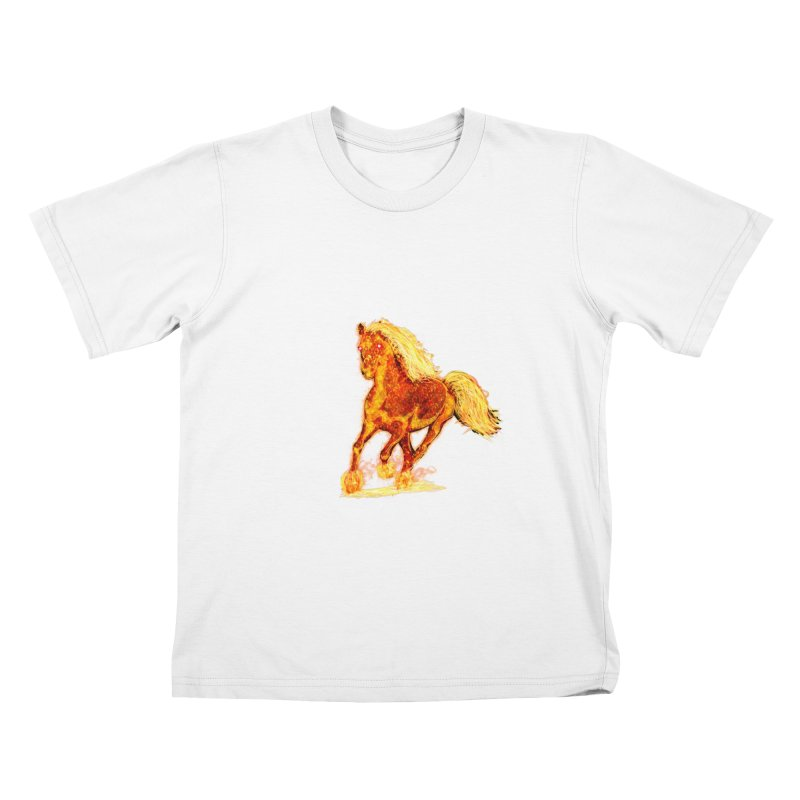 Flaming Horse Kids T-Shirt by nicolekieferdesign's Artist Shop