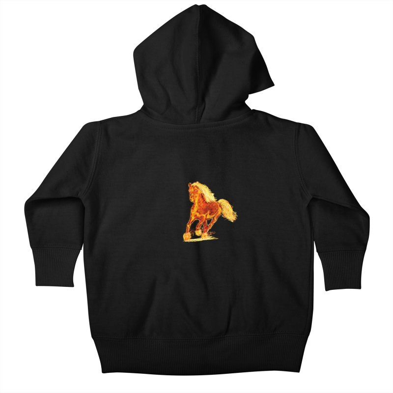 Flaming Horse Kids Baby Zip-Up Hoody by nicolekieferdesign's Artist Shop