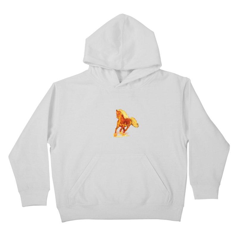 Flaming Horse Kids Pullover Hoody by nicolekieferdesign's Artist Shop