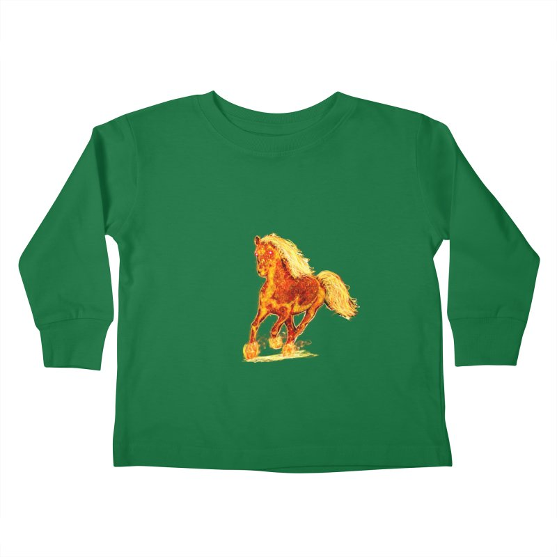Flaming Horse Kids Toddler Longsleeve T-Shirt by nicolekieferdesign's Artist Shop